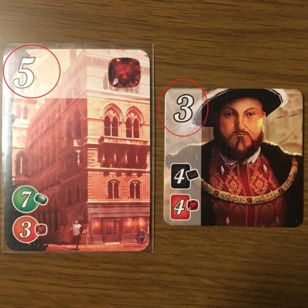 宝石の煌きのカードと貴族タイル