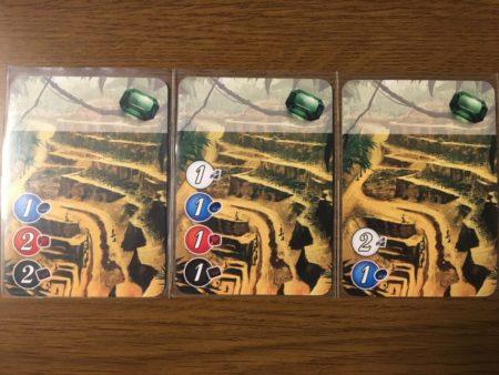 緑の0点カードが3枚。左からコスト5、コスト4、コスト3